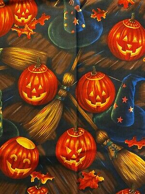 1 YD VINTAGE 1998 HALLOWEEN WITCH HATS, BROOMSTICKS, PUMPKINS BY ALEXANDER HENRY