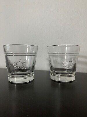 Crown Royal Whiskey Glasses Glass Cup Mug Shot Glasses Package Set Of 2 w/ Logos Crown Royal Shot