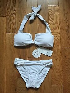 NEW WITH TAGS 2 piece WHITE BIKINI BATHING SUIT Size small