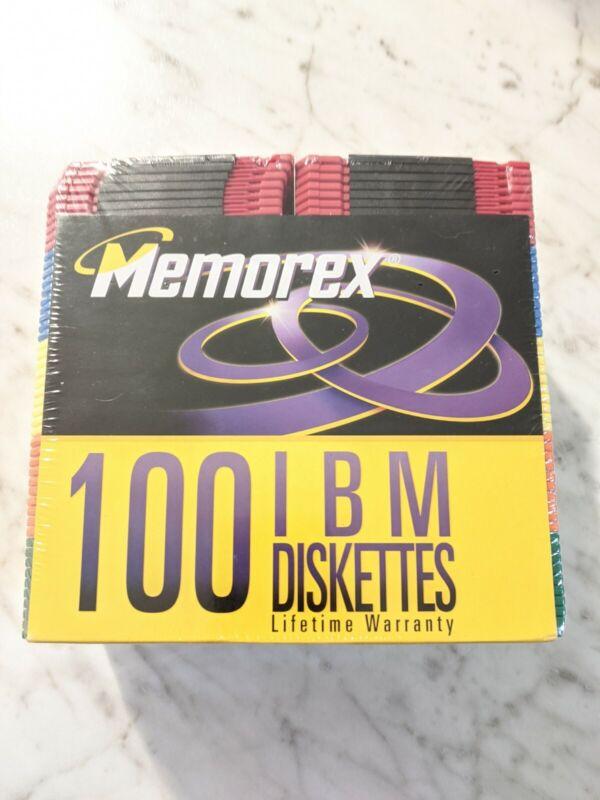 "100 Memorex 3.5"" High Density Formatted IBM & Compatibles Diskettes NOS NEW"