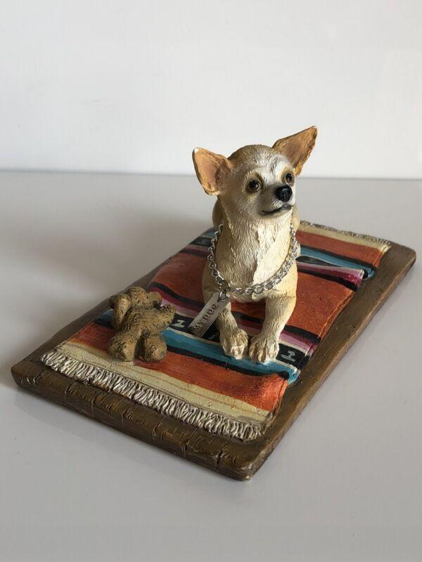 CHIHUAHUA White Tan MY DOG Resin Hand Painted Figurine Statue