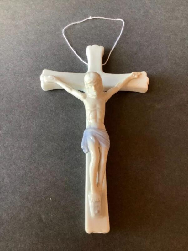 Cross Crucifix Jesus Wall Hanging Vintage Porcelain Pray Faith Christian Decor