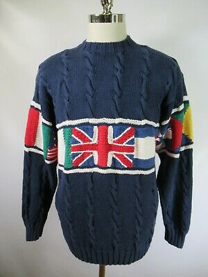 E6709 VTG 90s TOMMY HILFIGER FLAG Hand Knit Textured Pullover Sweater Size L