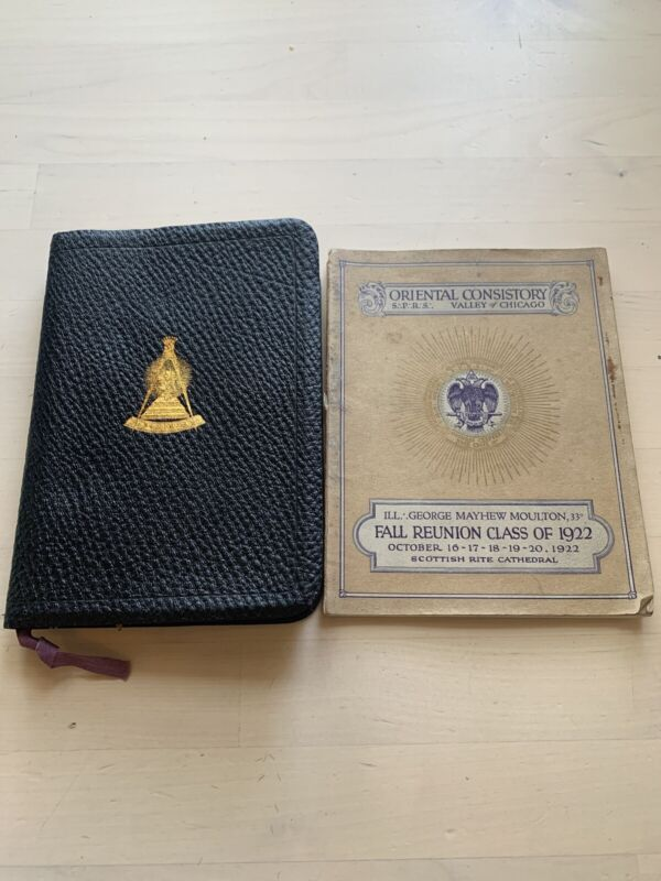 Antique MASON NEW TESTAMENT BIBLE MOUNT CALVARY CHAPTER SCOTTISH RITE 1922