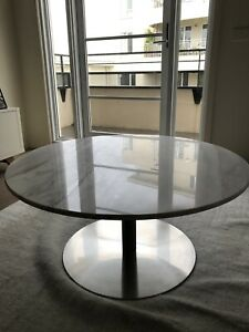 White Marble Round Coffee Table 90cm Nick Scali As new condition