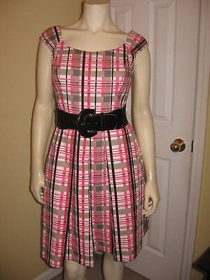 Kristin Davis Womens Multi Color Plaids Pleated Dress Size 8