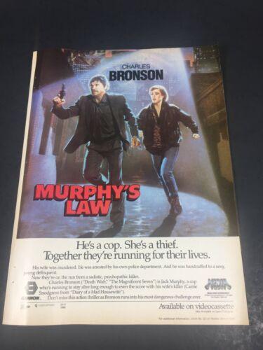 Vintage 1986 Print AD Cannon Media Video Advert Charles Bronson MURPHY