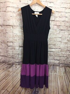 Chadwicks Womens Black & Purple Tiered Layered Ombre Sleeveless Dress -