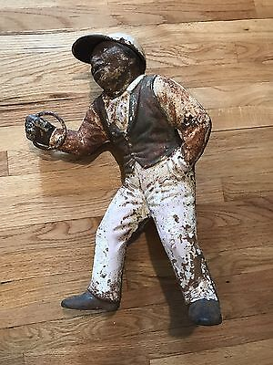 Early Vintage Cast Iron LAWN JOCKEY Statue Hitching Post Black Americana