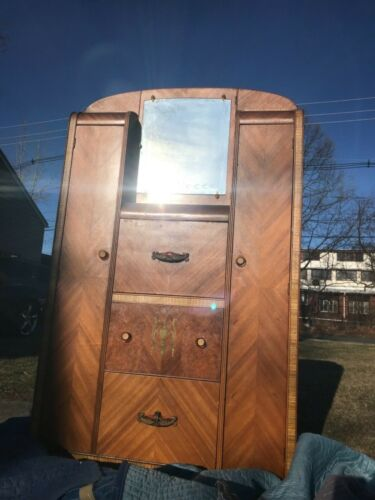 Antique Wood Armoire Bedroom Furniture with Drawers and Mirror- LOCAL PICKUP