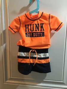 Baby boys swim trunk, rashguard and hat 9 months