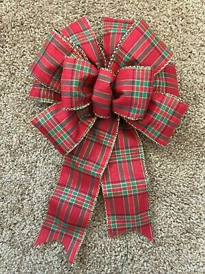 8'' WIDE RED-GREEN-GOLD PLAID CHRISTMAS BOW DECORATION FOR A 12