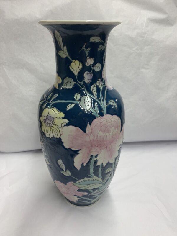 VINTAGE WBI CHINESE VASE Porcelain FLORAL Design Wood Base Included