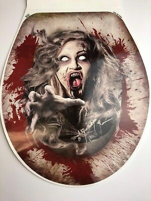 Halloween Decoration Creepy Prank Toilet Seat Lid Cover Cling Decal Zombie Girl