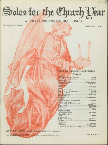 Solos For The Church Year Sacred Songbook High Voice 1957 Pfautsch Wedding Xmas