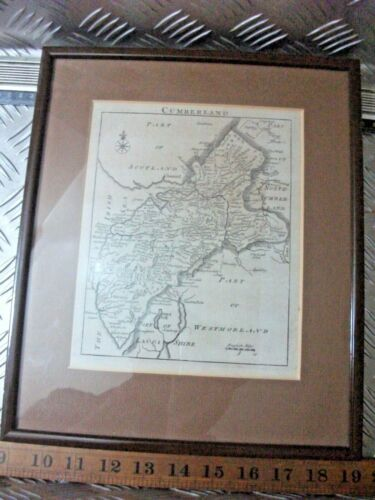 Framed 18th Century engraving  map of Westmorland  26.5 x 31.5  map 17 x 20