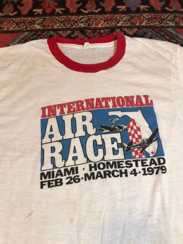 Vintage 70s Miami Air Races Homestead Ringer T Shirt White Red Large 1979