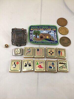 Boy Scout Lot Pin Belt Achievement Sliders Clip Coins Patch (Belt Achievement Patches)
