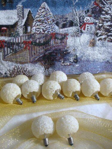 12 Vintage GE Lighted Ice Snowball Christmas Light Bulbs ALL WORK