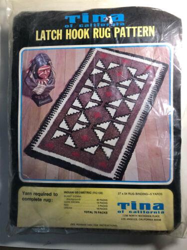 "Indian Geometric Latch Hook Rug Canvas 27"" x 54"""