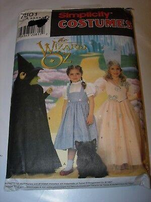 CHILDS UNCUT SIMPLICITY 7801 WIZARD OF OZ Pattern HALLOWEEN COSTUME size 3-8](Wizard Of Oz Halloween Costume Patterns)