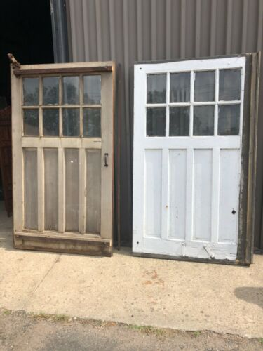 """4 vintage c1900 carriage house barn style doors w track 84/48"""" old glass 9/13"""""""