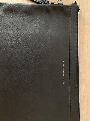 WANT Les Essentiels de la Vie - Black Leather Double Zip Barajas Portfolio A4