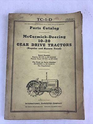 Tc-1-d Mccormick Deering 10-20 Gear Drive Tractors Parts Catalog