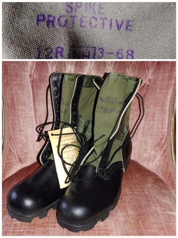 NOS 1968 USArmy Vietnam JUNGLE COMBAT BOOTS UNISSUED SPIKEPROTECTIVE 12R Hi-Pals
