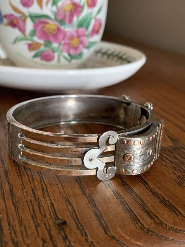 BUCKLE Antique FRENCH Rose Gold W Solid SILVER Hinged Bracelet Victorian Bangle