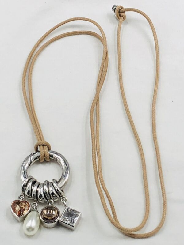 Designer Ti Sento Signed Sterling 925 Charm Holder With Charms On Cord Necklace