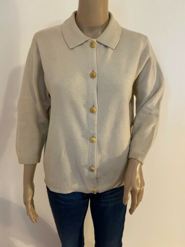 Vintage BALLANTYNE collared 100% cashmere cardigan w/gold buttons
