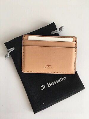 NWT Il Bussetto Tan Brown Leather Cardholder Card Case Wallet $58+ Mr Porter
