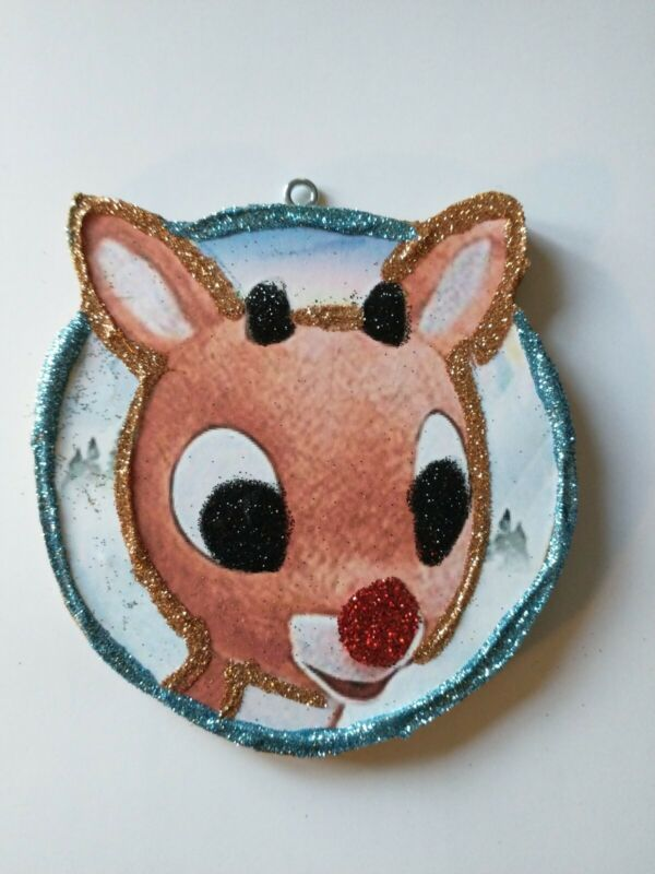 Vtg Image~~Rudolph the Red Nose Reindeer~~Christmas Glitter Wood Ornament