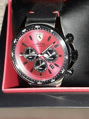NEW IN BOX Ferrari Pilota Watch w/ 45mm Red Chronograph Face Black Leather Band