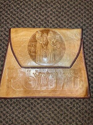 1920s Handbags, Purses, and Shopping Bag Styles Vintage 1920's Revival Egyptian Hieroglyphics Leather Clutch Bag $50.00 AT vintagedancer.com