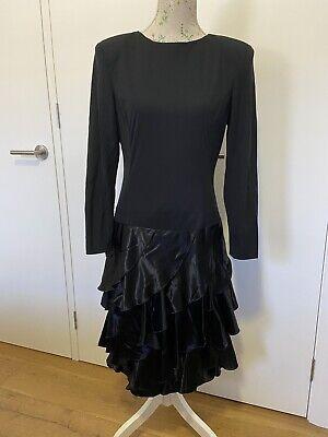 80s Dresses   Casual to Party Dresses Vintage 1980's Rimini size 12 Black Long Sleeves Layers Evening Dress $47.69 AT vintagedancer.com