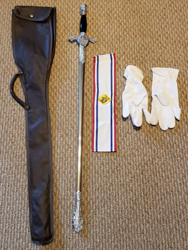 Vintage Knights Of Columbus Fraternal Ceremonial Sword with Bag, Gloves, Armband