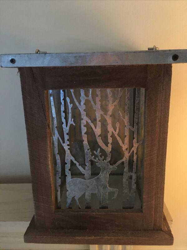 Wood Frame Metal Deer In Forest on Glass Hurricane Lantern Hanging