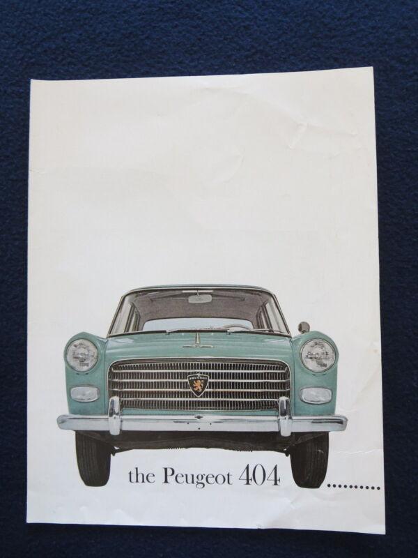 PEUGEOT 404 Sales Brochure 1960 4 Page Auto Brochure