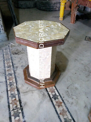 """18""""H 12"""" Dia White Wodden Stand Table Top Base Leg SeaShell Inlaid Work E568 for sale  Shipping to United States"""