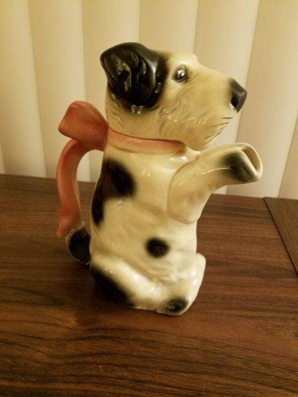 Antique Germany Erphila Ceramic 6702B Black White Dog Teapot Milk Cream Pitcher
