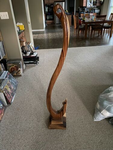 One of a kind - unique solid WOOD curved (4ft tall!)FISHING HOOK ART (with base)