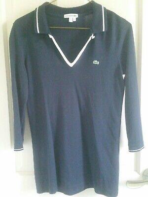 Lacoste Polo T-Shirt Womens Navy Blue Long Sleeve Top Cotton Modal Piqué Logo 38
