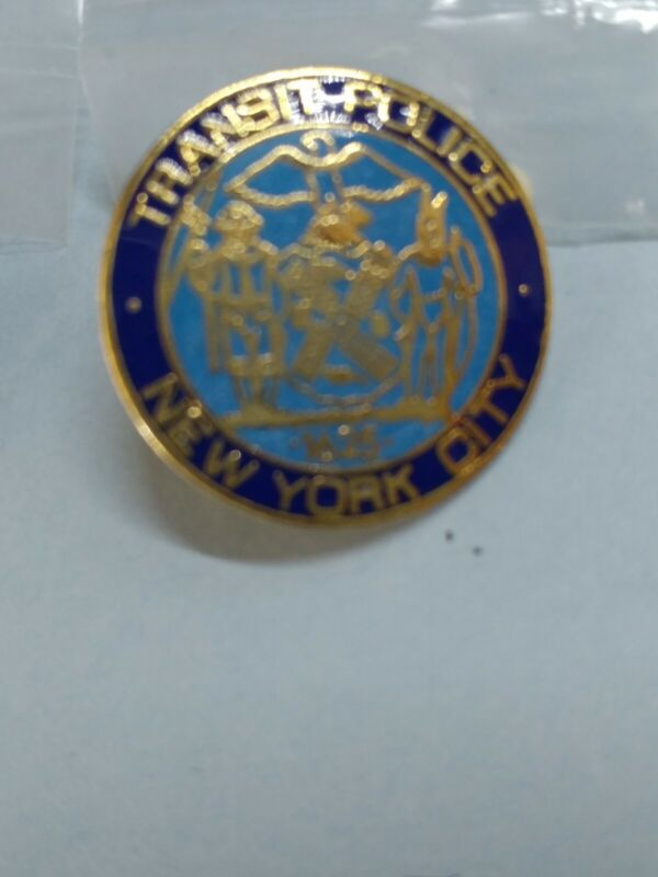 transit police new york city pins set of 2, vintage free ship collectible