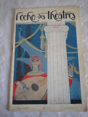 Vintage Programme Echo des Theatres 1926-27 art deco cover Henri Desbarbieux
