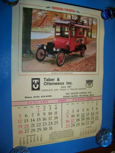 Automobile Calendar Taber & Ottenwess Grand Rapids, Michigan  Vintage 1986
