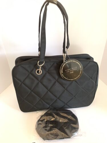 Perry Ellis Black Quilted Tote Bag & Cosmetic Case Brand New
