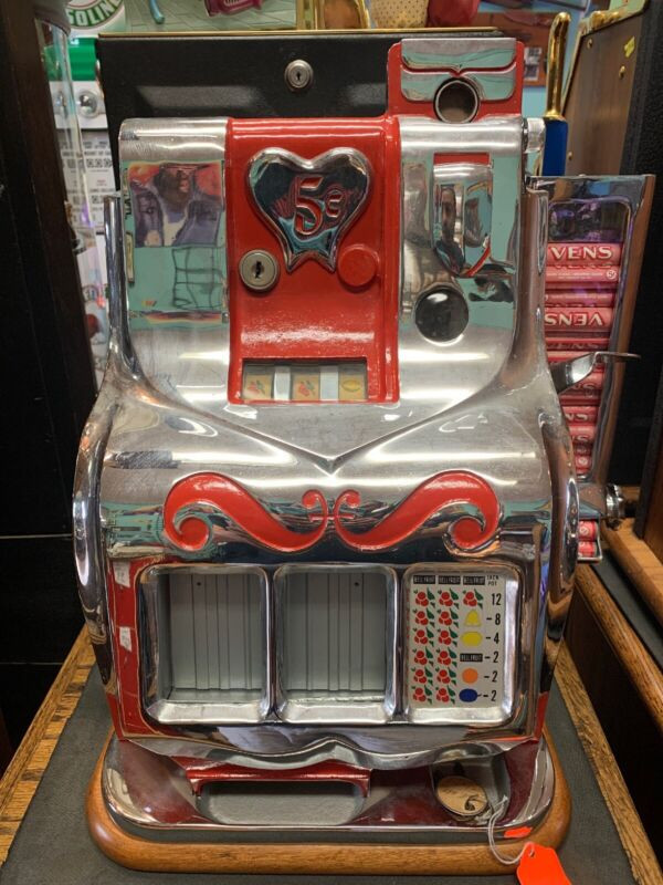 Mills QT Sweetheart Slot Machine 5 Cent Very Rare Great Condition W/ Keys Works