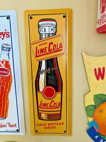 Vintage Drink Lime Cola Bottle Door Push Sign ORIGINAL Soda Fountain